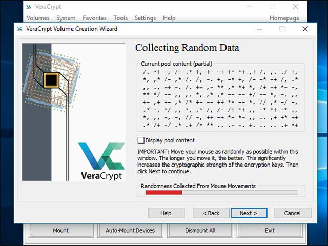 VeraCrypt sẽ yêu cầu bạn di chuyển chuột ngẫu nhiên trong phạm vi bên trong cửa sổ