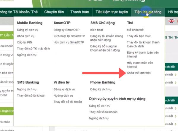 Giao diện tính năng thẻ Vietcombank