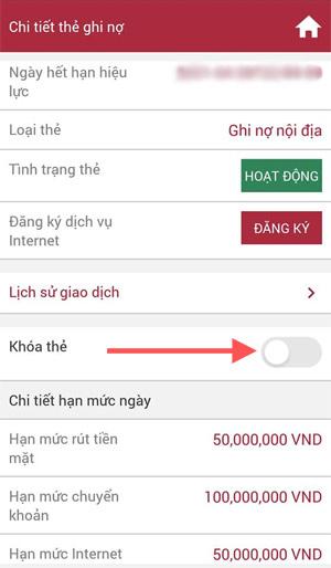 Khóa thẻ bằng ứng dụng Internet Banking