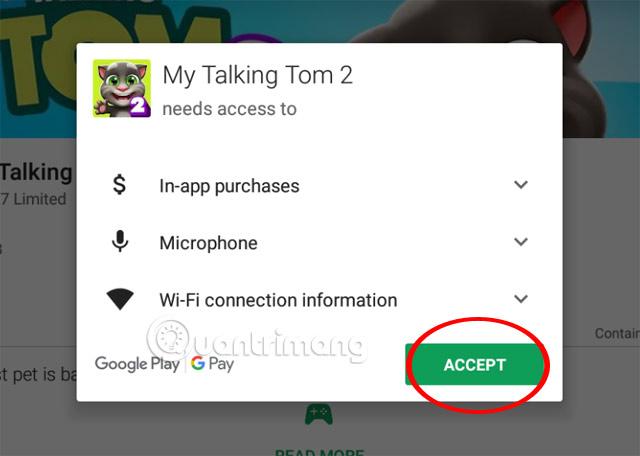 Chấp nhận quyền truy cập My Talking Tom 2 Play Store NoxPlayer