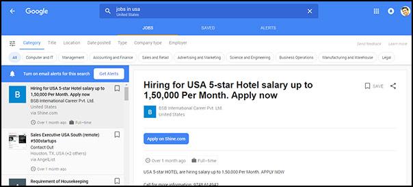 Google cũng sở hữu một cổng tìm kiếm thông tin về việc làm