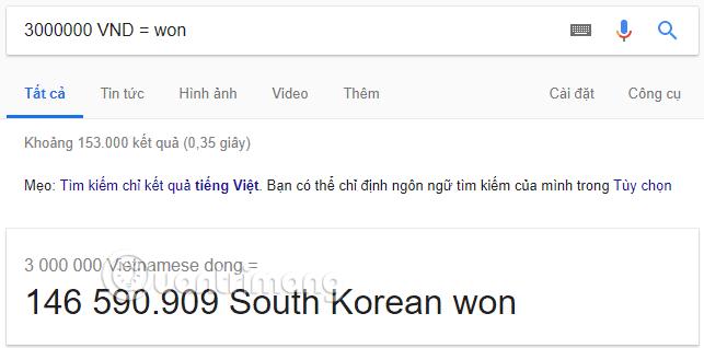Chuyển tiền Việt sang tiền Won bằng Google