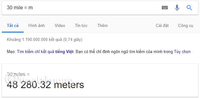 Đổi dặm sang m trên Google