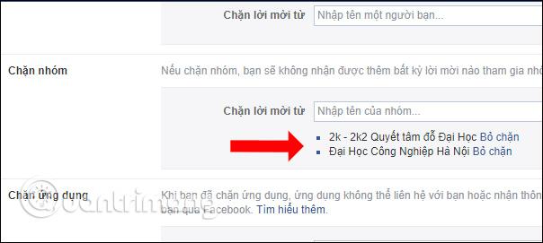 Danh sách nhóm Facebook bị chặn