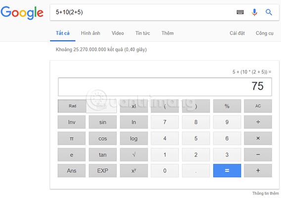 Làm toán trên Google Tìm kiếm