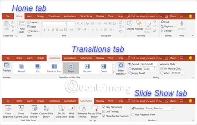 Ribbon và các tab