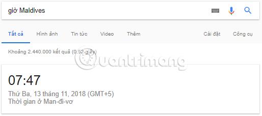 Xem giờ hiện tại ở nơi khác trên Google