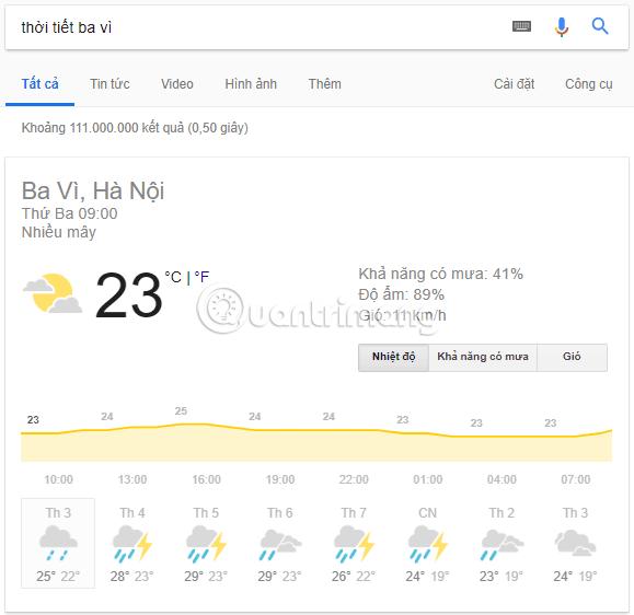 Cách xem thời tiết trên Google tìm kiếm