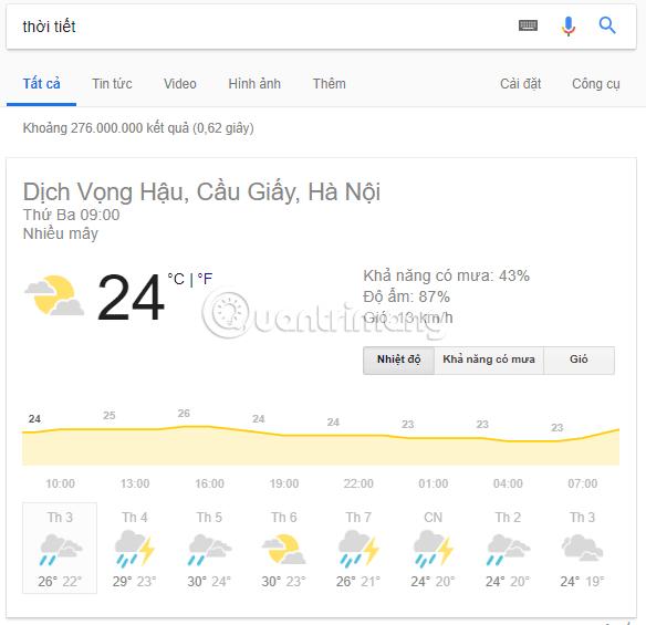 Xem thời tiết tại khu vực sinh sống