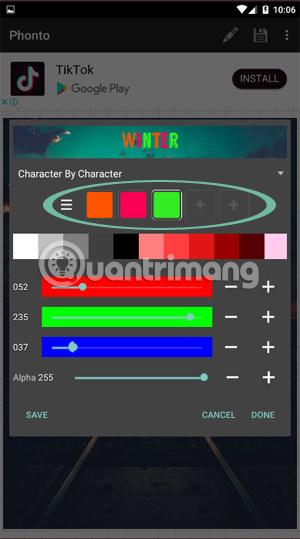 Phối màu cho từng chữ trong nội dung