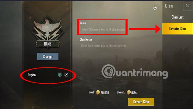 Thay đổi tên Clan, chọn quốc gia Clan PUBG Mobile