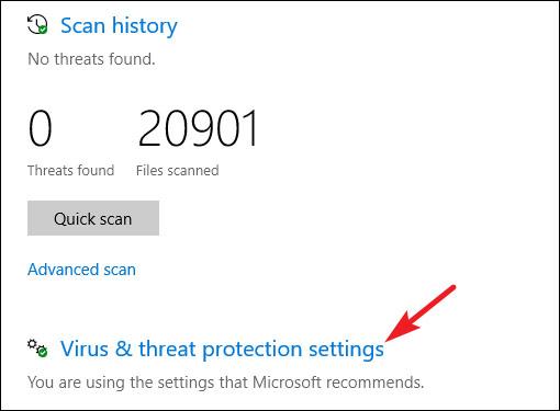 Nhấp vào liên kết Virus & threat protection settings
