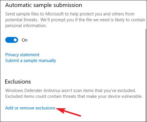 Nhấp vào liên kết Add or remove exclusions