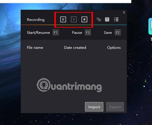 Trạng thái phím điều hướng Macro Recorder NoxPlayer