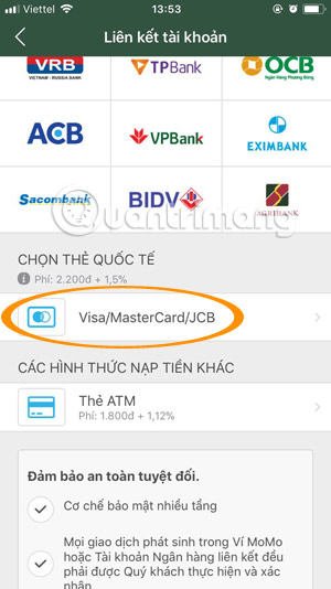 Choose to link your VISA / Mastercard with Momo Wallet