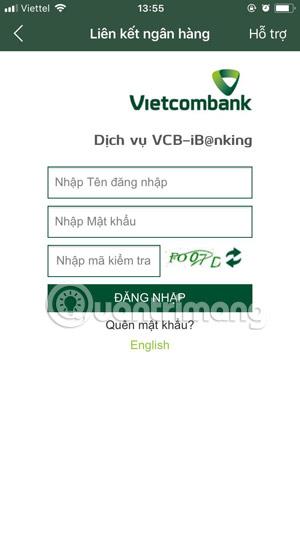 Link Vietcombank to Momo wallet