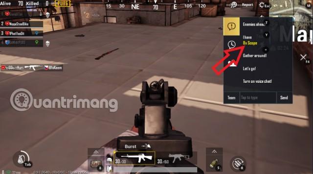 Chọn câu chat báo vị trí đồ PUBG Mobile