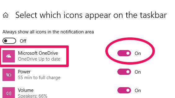Kiểm tra trạng thái của công tắc bật tắt bên cạnh Microsoft OneDrive