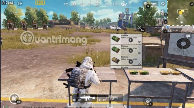 Vị trí nhận đạn PUBG Mobile Training