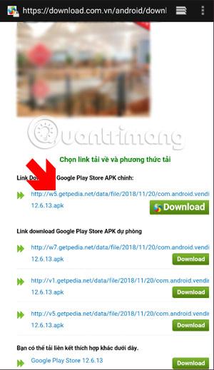 Chọn link tải Google Play Store về máy