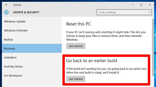Roll-back các phiên bản cập nhật Windows 10