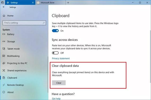 Xóa lịch sử clipboard trên Windows 10?