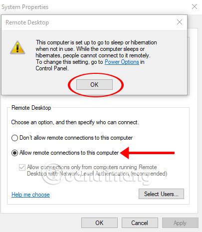Bật chế độ cho phép điều khiển từ xa trên máy tính