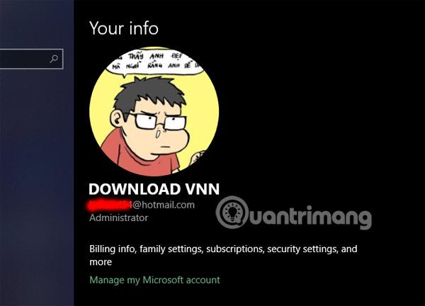 Thông tin User Account trên máy
