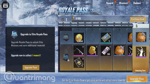 Hệ thống Royale Pass Season 4 PUBG Mobile