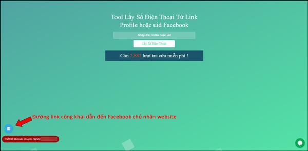 Giao diện chính của website kèm theo đương kink dẫn đến Facebook chủ nhân trang web