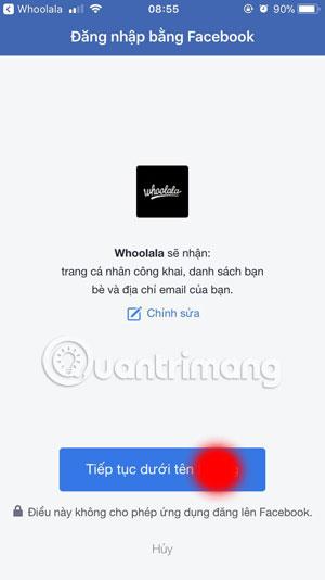 Đăng nhập Whoolala bằng Facebook