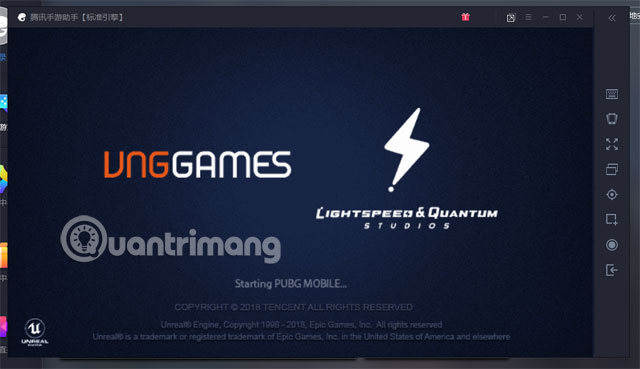 Màn hình khởi động PUBG Mobile VNG Tencent Gaming Buddy