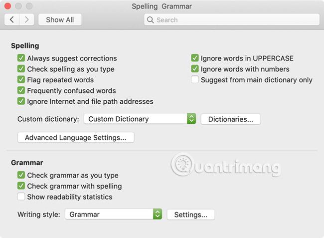 Spelling và Grammar