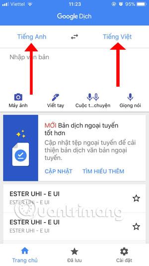 Giao diện chính Google Dịch