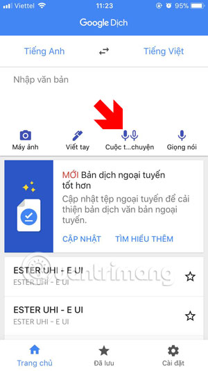 Chọn Cuộc trò chuyện Google Dịch