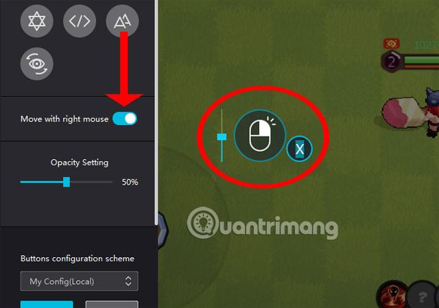 Cài đặt di chuyển nhận vật trong game bằng chuột phải NoxPlayer