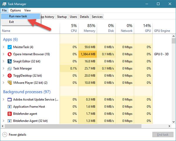 Sử dụng Task Manager (áp dụng cho tất cả các phiên bản Windows)