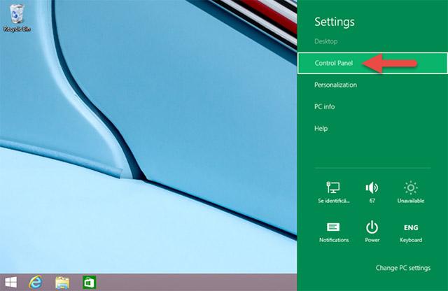 Sử dụng Settings Charm (chỉ dành cho Windows 8.1)