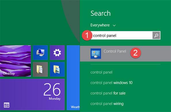 """Trong Windows 8.1, bạn chuyển sang màn hình Star và cũng nhập từ khóa """"control panel"""""""
