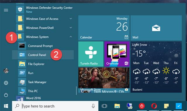 Sử dụng shortcut của Control Panel từ menu Start
