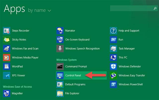 Trong thư mục Windows System bạn sẽ thấy có một shortcut của Control Panel.