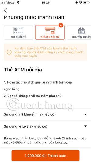 Thanh toán bằng thẻ ATM nội địa Luxstay