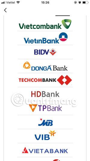 Danh sách ngân hàng được hỗ trợ trên Luxstay