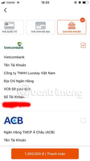 Thanh toán bằng chuyển khoản trên Luxstay