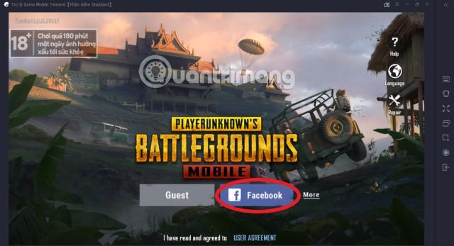 Chọn đăng nhập Facebook PUBG Mobile VNG trên Tencent Gaming Buddy