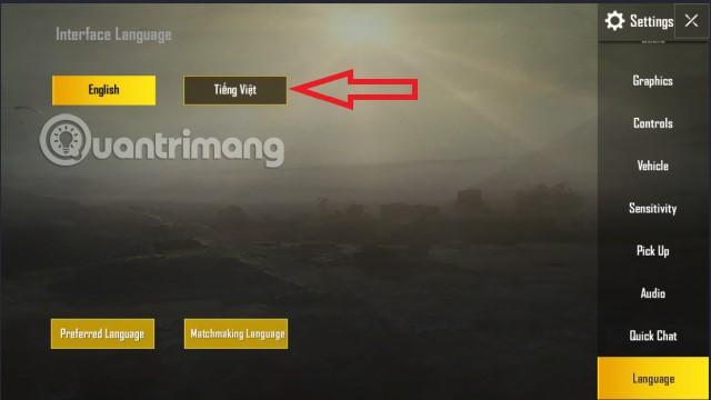 Chọn tiếng Việt PUBG Mobile trên Tencent Gaming Buddy