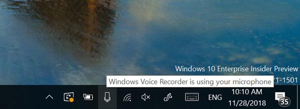Nhận biết ứng dụng nào đang sử dụng mic