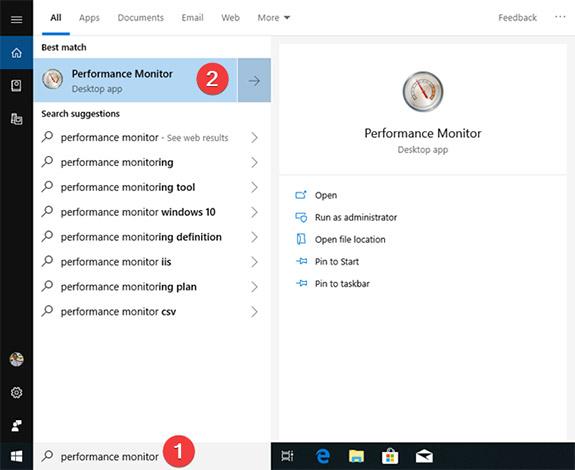 """Trong Windows 10, bạn chỉ cần nhấp hoặc nhấn vào bên trong hộp tìm kiếm trên thanh tác vụ, sau đó nhập từ khóa """"Performance Monitor"""" hoặc """"perfmon"""""""