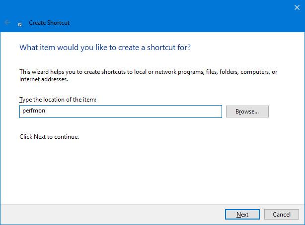 Tạo một shortcut cho Performance Monitor