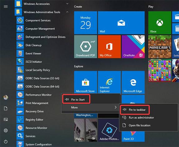 Ghim Performance Monitor vào thanh tác vụ, Start menu